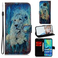 White Lion Laser Shining Leather Wallet Phone Case for Huawei Mate 20 Pro
