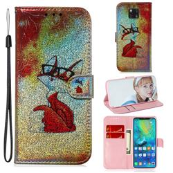 Glasses Fox Laser Shining Leather Wallet Phone Case for Huawei Mate 20 Pro