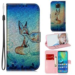 Cute Fox Laser Shining Leather Wallet Phone Case for Huawei Mate 20 Pro