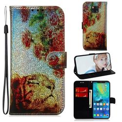 Tiger Rose Laser Shining Leather Wallet Phone Case for Huawei Mate 20 Pro