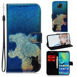 Cat and Leopard Laser Shining Leather Wallet Phone Case for Huawei Mate 20 Pro