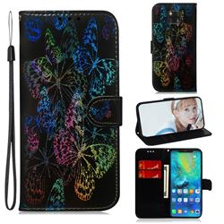 Black Butterfly Laser Shining Leather Wallet Phone Case for Huawei Mate 20 Pro