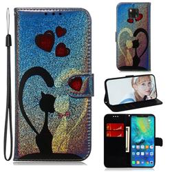 Love Cat Laser Shining Leather Wallet Phone Case for Huawei Mate 20 Pro