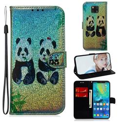 Two Pandas Laser Shining Leather Wallet Phone Case for Huawei Mate 20 Pro
