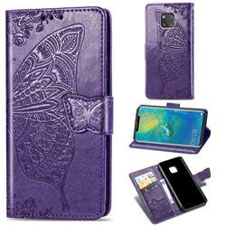 Embossing Mandala Flower Butterfly Leather Wallet Case for Huawei Mate 20 Pro - Dark Purple