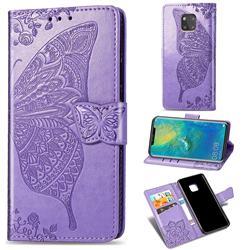 Embossing Mandala Flower Butterfly Leather Wallet Case for Huawei Mate 20 Pro - Light Purple