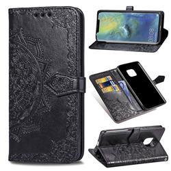 Embossing Imprint Mandala Flower Leather Wallet Case for Huawei Mate 20 Pro - Black