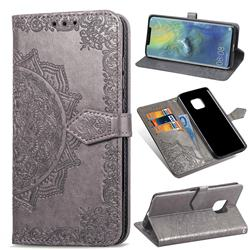 Embossing Imprint Mandala Flower Leather Wallet Case for Huawei Mate 20 Pro - Gray