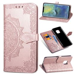Embossing Imprint Mandala Flower Leather Wallet Case for Huawei Mate 20 Pro - Rose Gold