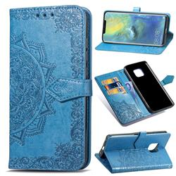 Embossing Imprint Mandala Flower Leather Wallet Case for Huawei Mate 20 Pro - Blue