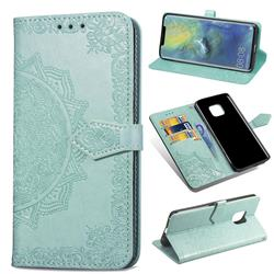 Embossing Imprint Mandala Flower Leather Wallet Case for Huawei Mate 20 Pro - Green