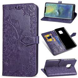 Embossing Imprint Mandala Flower Leather Wallet Case for Huawei Mate 20 Pro - Purple