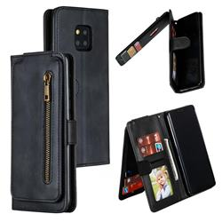 Multifunction 9 Cards Leather Zipper Wallet Phone Case for Huawei Mate 20 Pro - Black