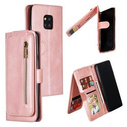 Multifunction 9 Cards Leather Zipper Wallet Phone Case for Huawei Mate 20 Pro - Rose Gold