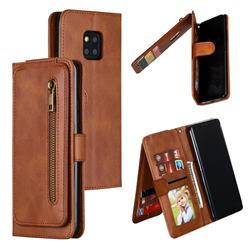 Multifunction 9 Cards Leather Zipper Wallet Phone Case for Huawei Mate 20 Pro - Brown