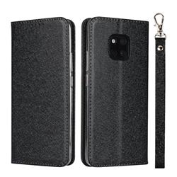 Ultra Slim Magnetic Automatic Suction Silk Lanyard Leather Flip Cover for Huawei Mate 20 Pro - Black