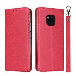 Ultra Slim Magnetic Automatic Suction Silk Lanyard Leather Flip Cover for Huawei Mate 20 Pro - Red