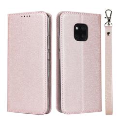 Ultra Slim Magnetic Automatic Suction Silk Lanyard Leather Flip Cover for Huawei Mate 20 Pro - Rose Gold