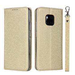 Ultra Slim Magnetic Automatic Suction Silk Lanyard Leather Flip Cover for Huawei Mate 20 Pro - Golden