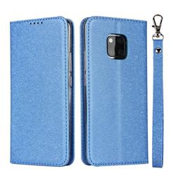 Ultra Slim Magnetic Automatic Suction Silk Lanyard Leather Flip Cover for Huawei Mate 20 Pro - Sky Blue