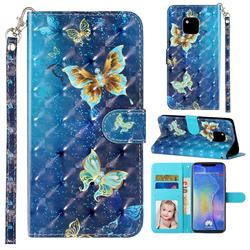 Rankine Butterfly 3D Leather Phone Holster Wallet Case for Huawei Mate 20 Pro