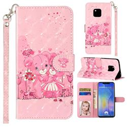 Pink Bear 3D Leather Phone Holster Wallet Case for Huawei Mate 20 Pro