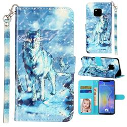 Snow Wolf 3D Leather Phone Holster Wallet Case for Huawei Mate 20 Pro