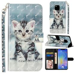 Kitten Cat 3D Leather Phone Holster Wallet Case for Huawei Mate 20 Pro