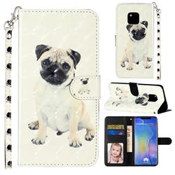 Pug Dog 3D Leather Phone Holster Wallet Case for Huawei Mate 20 Pro