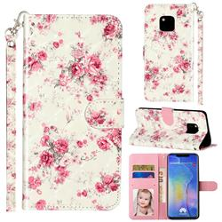 Rambler Rose Flower 3D Leather Phone Holster Wallet Case for Huawei Mate 20 Pro