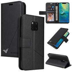 GQ.UTROBE Right Angle Silver Pendant Leather Wallet Phone Case for Huawei Mate 20 Pro - Black