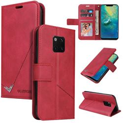 GQ.UTROBE Right Angle Silver Pendant Leather Wallet Phone Case for Huawei Mate 20 Pro - Red