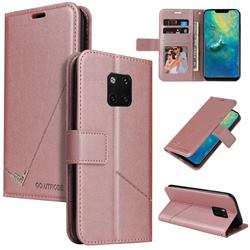 GQ.UTROBE Right Angle Silver Pendant Leather Wallet Phone Case for Huawei Mate 20 Pro - Rose Gold