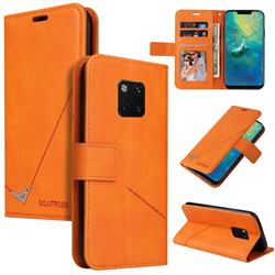 GQ.UTROBE Right Angle Silver Pendant Leather Wallet Phone Case for Huawei Mate 20 Pro - Orange