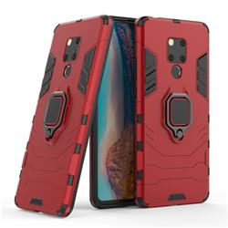 Black Panther Armor Metal Ring Grip Shockproof Dual Layer Rugged Hard Cover for Huawei Mate 20 X - Red