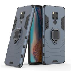 Black Panther Armor Metal Ring Grip Shockproof Dual Layer Rugged Hard Cover for Huawei Mate 20 X - Blue