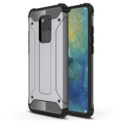 King Kong Armor Premium Shockproof Dual Layer Rugged Hard Cover for Huawei Mate 20 X - Silver Grey