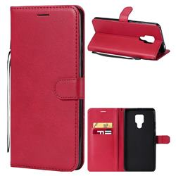 Retro Greek Classic Smooth PU Leather Wallet Phone Case for Huawei Mate 20 X - Red