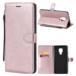 Retro Greek Classic Smooth PU Leather Wallet Phone Case for Huawei Mate 20 X - Rose Gold