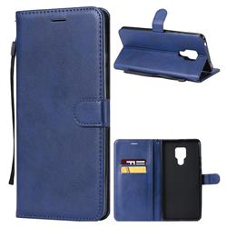 Retro Greek Classic Smooth PU Leather Wallet Phone Case for Huawei Mate 20 X - Blue