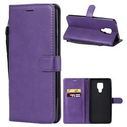 Retro Greek Classic Smooth PU Leather Wallet Phone Case for Huawei Mate 20 X - Purple