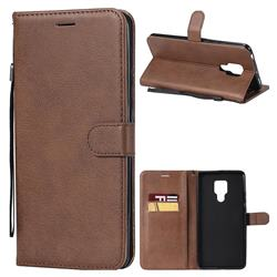 Retro Greek Classic Smooth PU Leather Wallet Phone Case for Huawei Mate 20 X - Brown