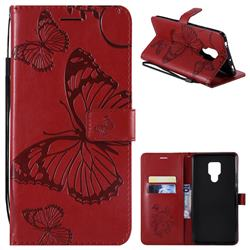 Embossing 3D Butterfly Leather Wallet Case for Huawei Mate 20 X - Red