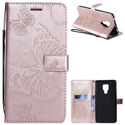 Embossing 3D Butterfly Leather Wallet Case for Huawei Mate 20 X - Rose Gold