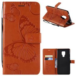 Embossing 3D Butterfly Leather Wallet Case for Huawei Mate 20 X - Orange