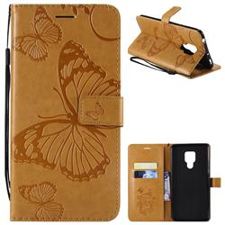 Embossing 3D Butterfly Leather Wallet Case for Huawei Mate 20 X - Yellow