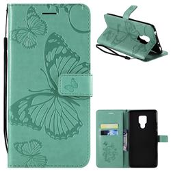 Embossing 3D Butterfly Leather Wallet Case for Huawei Mate 20 X - Green