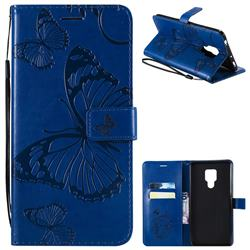 Embossing 3D Butterfly Leather Wallet Case for Huawei Mate 20 X - Blue