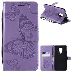 Embossing 3D Butterfly Leather Wallet Case for Huawei Mate 20 X - Purple