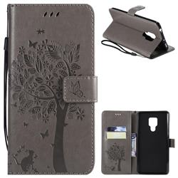 Embossing Butterfly Tree Leather Wallet Case for Huawei Mate 20 X - Grey